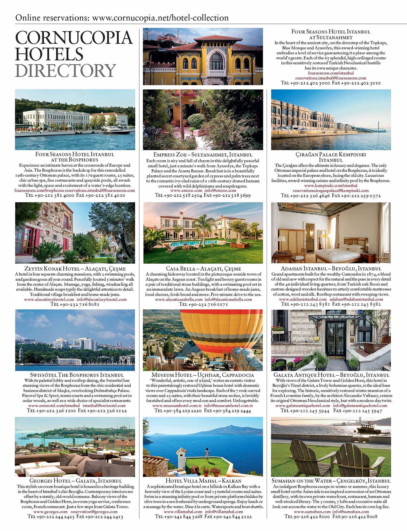 <b>CORNUCOPIA HOTEL DIRECTORY</b><br><br> Print layout