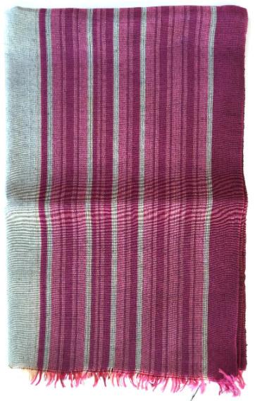 Cornucopia Magazine Silk Kutnu Scarf With Pink And Grey