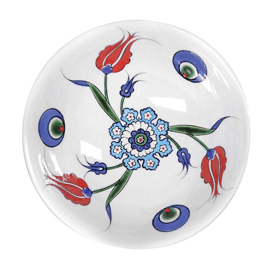 Iznik ceramic bowl with cintemani and red tulip design